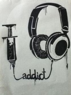 Drawn music headphone