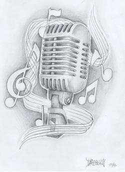 Drawn music studio microphone