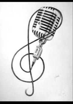 Drawn music notes studio microphone