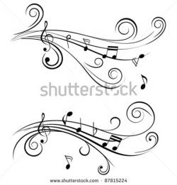 Drawn music notes swirl