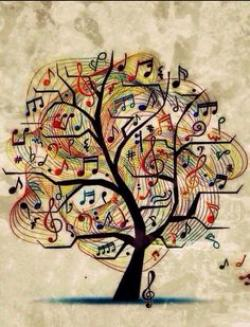 Drawn music notes tree