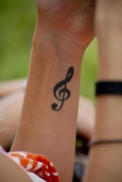 Drawn music notes woman's