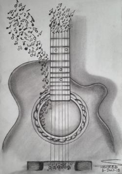 Drawn musician pencil sketch