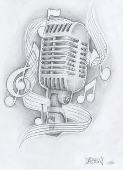 Drawn musician retro microphone