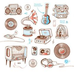Drawn musician retro radio