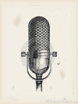 Drawn musician studio microphone
