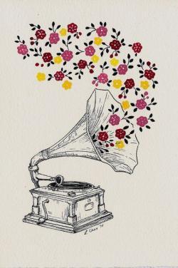 Drawn musician vintage