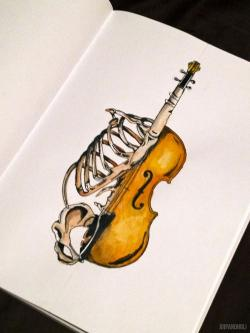 Drawn violinist string instrument