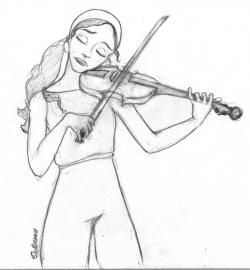 Drawn violin violin playing
