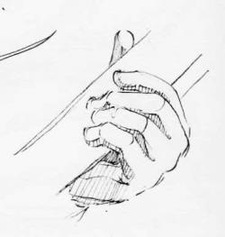 Drawn musician hand holding