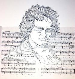 Drawn musician paper