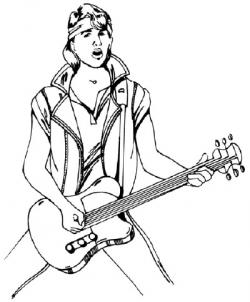 Drawn musician rock star