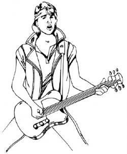 Drawn musician rock star