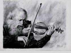 Drawn musician violin playing