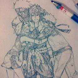 Drawn naruto team 7