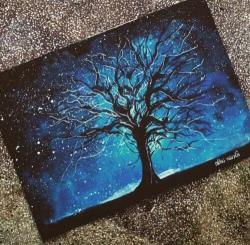 Drawn night sky oil pastel