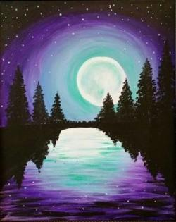 Moonlight clipart water painting