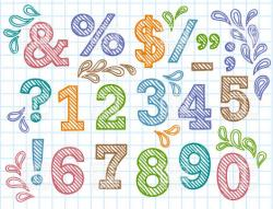 Drawn number colorful