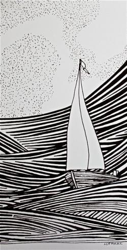 Drawn yacht artwork