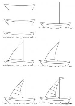Drawn yacht stone age