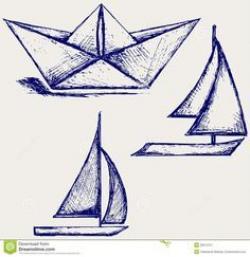 Drawn yacht origami boat