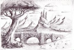 Drawn scenic pencil sketching