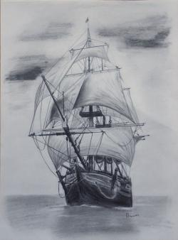 Drawn yacht old ship