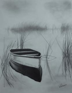Drawn lake pencil drawing