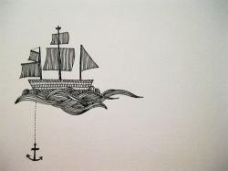 Drawn anchor sailor boat