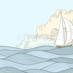 Drawn oat sailor boat