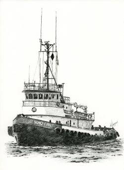 Drawn oat tugboat
