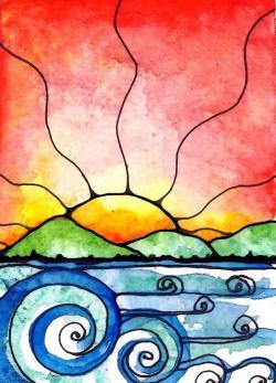 Drawn ocean beach sunrise