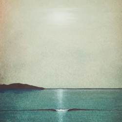 Drawn wave ocean horizon