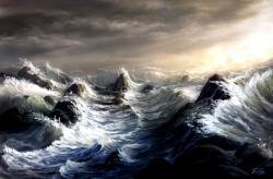 Drawn wave ocean storm