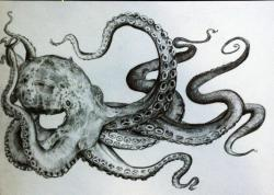Drawn guitar octopus