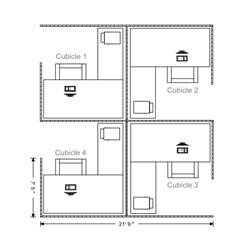 Drawn office blueprint