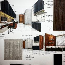 Drawn office interior design