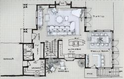 Drawn office interior planning
