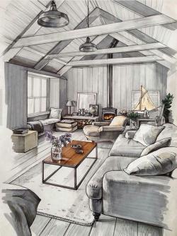 Drawn sofa home interior