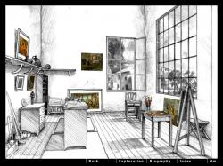 Drawn office one point perspective
