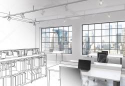 Drawn office open space