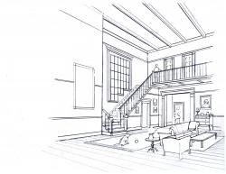 Drawn office perspective drawing
