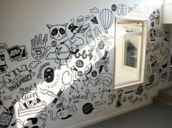 Drawn office wall