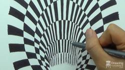 Drawn optical illusion black hole