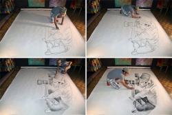 Drawn optical illusion cool pop
