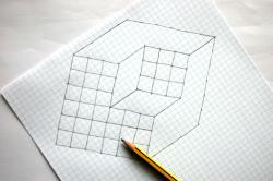 Drawn optical illusion cube