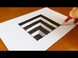 Drawn optical illusion depth drawing