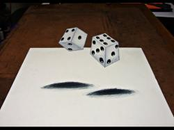 Drawn optical illusion dice