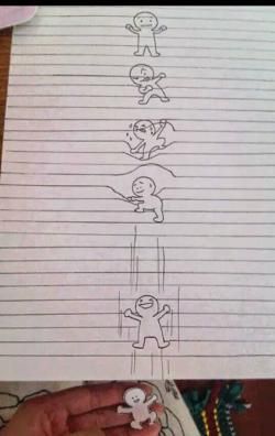 Drawn optical illusion lined paper