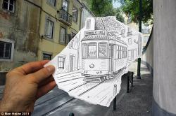 Drawn optical illusion meets
